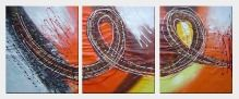 Connections - 3 Canvas Set Oil Painting Nonobjective Decorative 24 x 60 inches