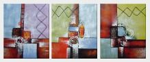 Decorative Patterns - 3 Canvas Set Oil Painting Nonobjective 24 x 60 inches