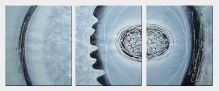 Circle, Gear and Lines In Gray Background - 3 Canvas Set Oil Painting Nonobjective Decorative 24 x 60 inches