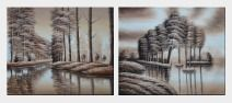 Two Rows of Trees and Reflections Along River - 2 Canvas Set Oil Painting Landscape Decorative 20 x 48 inches