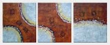 Perfect Match - 3 Canvas Set Oil Painting Nonobjective Decorative 24 x 60 inches