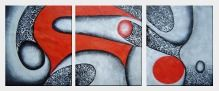 Gray And Red Decorative Patterns - 3 Canvas Set Oil Painting Nonobjective 24 x 60 inches