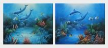 Magical Underwater Sea World - 2 Canvas Set Oil Painting Animal Marine Life Dolphin Fish Naturalism 20 x 48 inches