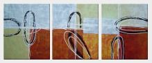 Circles and Rectangles - 3 Canvas Set Oil Painting Nonobjective Decorative 24 x 60 inches