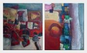 Colorful Abstract Objects - 2 Canvas Set Oil Painting Nonobjective Decorative 24 x 40 inches