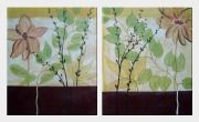 Blooming Flowers with Green Leaves - 2 Canvas Set Oil Painting Asian 24 x 40 inches