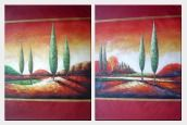 Modern Green Cypress Trees in Red Landscape - 2 Canvas Set Oil Painting 40 x 60 inches