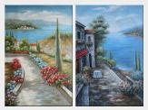 Beautiful Flowers Along the Coastal Walkway - 2 Canvas Set Oil Painting Mediterranean Naturalism 36 x 48 inches