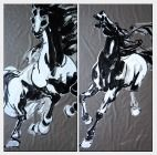 Pair of Horses - 2 Canvas Set Oil Painting Animal Asian 70 x 70 inches