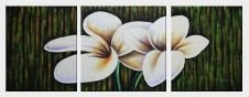 Light Purple Flowers In Dark Green Setting - 3 Canvas Set Oil Painting Decorative 24 x 64 inches