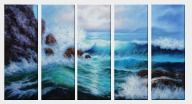 Sea Waves Crash Against Rocks - 5 Canvas Set  36 x 65 inches