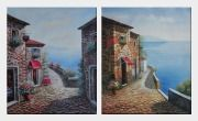 Beautiful Mediterranean Stone House - 2 Canvas Set Oil Painting Naturalism 24 x 40 inches