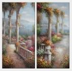 Colorful Flowered Step to Beach Large Mediterranean Painting - 2 Canvas Set Oil Naturalism 48 x 48 inches