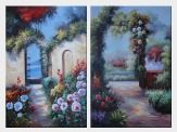 Flower Garden and Lily Pond - 2 Canvas Set Oil Painting Naturalism 36 x 48 inches