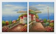 Sailing Near Mediterranean Coast - 2 Canvas Set  24 x 40 inches