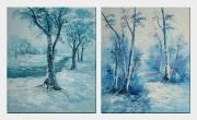 Snow Covered Landscape - 2 Canvas Set Oil Painting River Winter Naturalism 24 x 40 inches