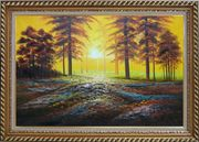Alpine Trees with Sunshine Oil Painting Landscape Naturalism Exquisite Gold Wood Frame 30 x 42 inches