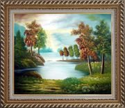 Peaceful Lake View in Spring Oil Painting Landscape River Naturalism Exquisite Gold Wood Frame 26 x 30 inches