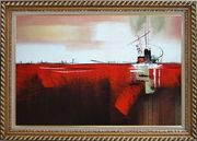 Ship in Red Ocean Oil Painting Boat Decorative Exquisite Gold Wood Frame 30 x 42 inches