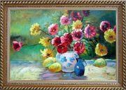 Delightful Colorful Chrysanthemums in Vase under Sunshine Oil Painting Flower Still Life Bouquet Naturalism Exquisite Gold Wood Frame 30 x 42 inches