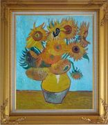 Sunflowers, Van Gogh Masterpieces Reproduction Oil Painting Still Life Post Impressionism Gold Wood Frame with Deco Corners 31 x 27 inches