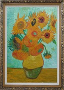 Sunflowers, Vincent Van Gogh Oil Painting Still Life Post Impressionism Ornate Antique Dark Gold Wood Frame 42 x 30 inches