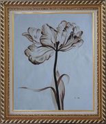 Browen Poppy In the Wind Oil Painting Flower Decorative Exquisite Gold Wood Frame 30 x 26 inches