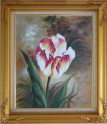 Colorful Tulip Flower In the Field Oil Painting Naturalism Gold Wood Frame with Deco Corners 31 x 27 inches