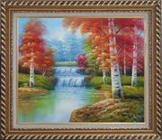 Two Small Waterfalls in Gloden Autumn Oil Painting Landscape Naturalism Exquisite Gold Wood Frame 26 x 30 inches