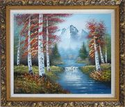 Small Water Fall in Golden Autumn Oil Painting Landscape Waterfall Naturalism Ornate Antique Dark Gold Wood Frame 26 x 30 inches