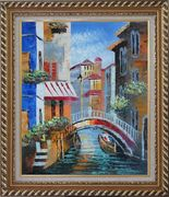 Gondola Pass Through Small Bridge in Venice Oil Painting Italy Naturalism Exquisite Gold Wood Frame 30 x 26 inches