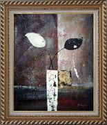Stretched Modern Vases with Black and White Flowers Oil Painting Still Life Exquisite Gold Wood Frame 30 x 26 inches