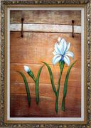 Light Blue Flowers and Brown Wood Wall Oil Painting Tulip Modern Ornate Antique Dark Gold Wood Frame 42 x 30 inches