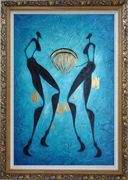 Two Girls Dancing in Moonlight Oil Painting Portraits Woman Modern Ornate Antique Dark Gold Wood Frame 42 x 30 inches