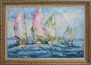 Racing Sailboats Regatta Spinnaker Oil Painting Boating Impressionism Exquisite Gold Wood Frame 30 x 42 inches