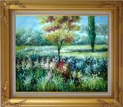 Colorful Flowers and Trees in a Garden Oil Painting Landscape Impressionism Gold Wood Frame with Deco Corners 27 x 31 inches
