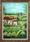 Tuscan Village in a Landscape Oil Painting Italy Naturalism Ornate Antique Dark Gold Wood Frame 42 x 30 inches