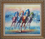Horse Racing Oil Painting Portraits Animal Modern Exquisite Gold Wood Frame 26 x 30 inches
