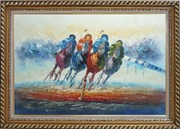 Horse Racing Oil Painting  Exquisite Gold Wood Frame 30