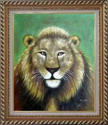 Lion Head Oil Painting Animal Naturalism Exquisite Gold Wood Frame 30 x 26 inches