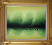 Lake Impression Oil Painting Landscape River Impressionism Gold Wood Frame with Deco Corners 27 x 31 inches