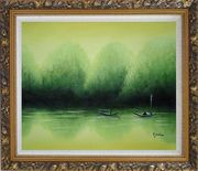 Lake Impression Oil Painting Landscape River Impressionism Ornate Antique Dark Gold Wood Frame 26 x 30 inches