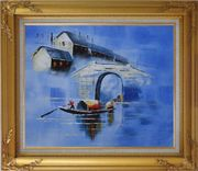 Blue Water Village and Double Bridge in Memory Oil Painting Boat China Asian Gold Wood Frame with Deco Corners 27 x 31 inches