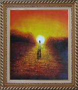 A Couple Walking in Glowing Dawn Light Oil Painting  Exquisite Gold Wood Frame 30