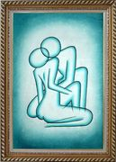 Modern Painting of Kiss Oil Portraits Couple Exquisite Gold Wood Frame 42 x 30 inches