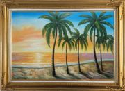 Tropical Paradise of Palm Trees on Sunset at Seaside Oil Painting  Gold Wood Frame with Deco Corners 31