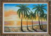 Tropical Paradise of Palm Trees on Sunset at Seaside Oil Painting Seascape America Naturalism Ornate Antique Dark Gold Wood Frame 30 x 42 inches