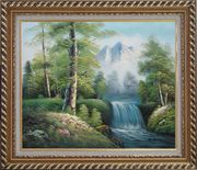 Small Waterfall With Pointed Snow Mountain in Alasak In Spring Oil Painting Landscape Naturalism Exquisite Gold Wood Frame 26 x 30 inches