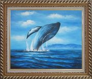 Whale Jumping Out of the Water Oil Painting Animal Marine Life Naturalism Exquisite Gold Wood Frame 26 x 30 inches