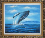 Whale Jumping Out of the Water Oil Painting Animal Marine Life Naturalism Ornate Antique Dark Gold Wood Frame 26 x 30 inches